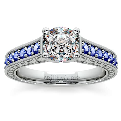 antique sapphire gemstone engagement ring in white gold