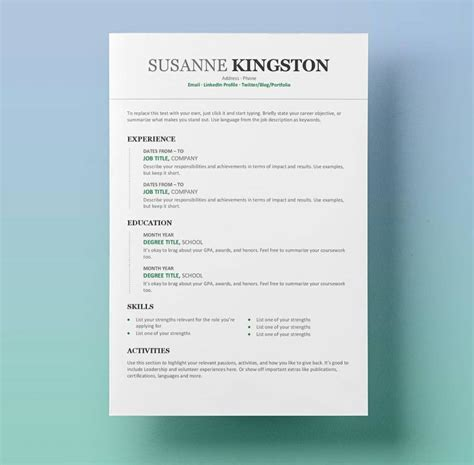 Free Resume Templates For Word 15 Cv Resume Formats To Download Modern Professional Cv Template Word