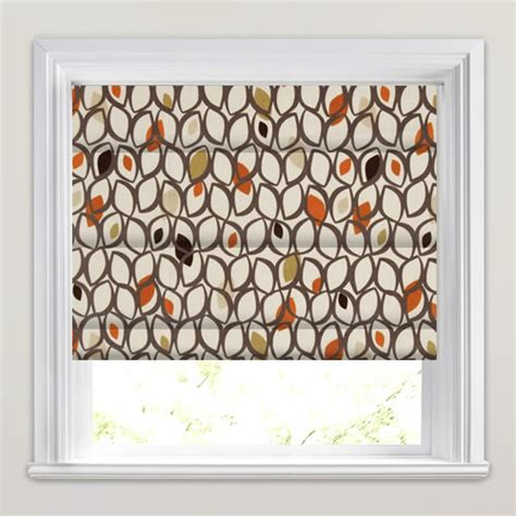 brown patterned roman blinds brown beige cream orange contemporary patterned roman