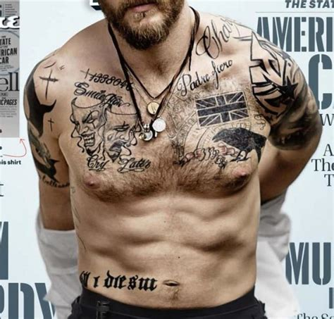tom hardy tattoos tom hardy s tattoos from the esquire magazine cover