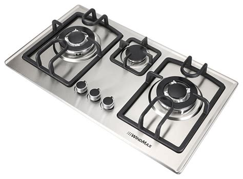 modern gas cooktop 28 in silver stainless steel 3 burner built in stove ng