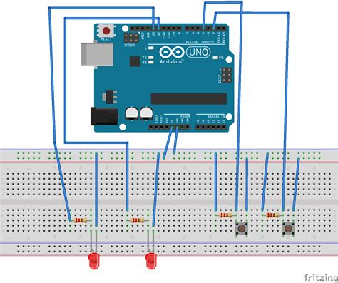 arduino code push button fritzing project led on off using two push button