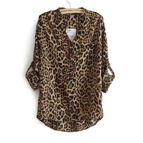Leopard Print Sleeve Blouse leopard print chiffon blouse lace henley blouse