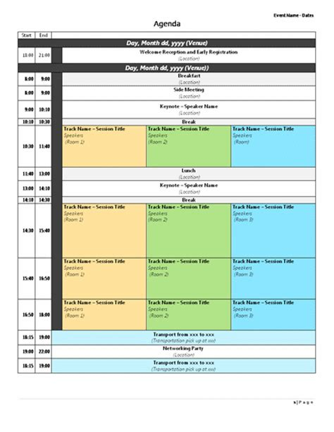 Agenda Format Microsoft Word Templates Conference Schedule Template