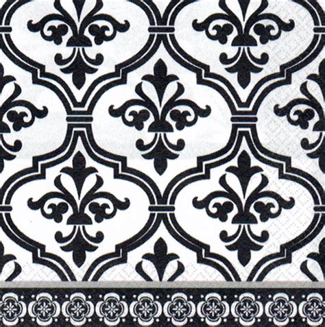Damask Decorations by Black White Damask Pattern Beverage Napkins Theme