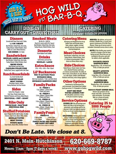 tops bar bq menu hog wild pit bar b q hutchinson ks 67502 3638 yellowbook