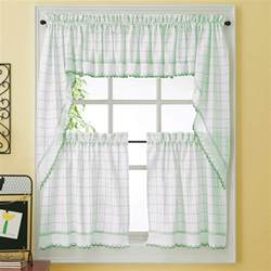Kitchen Drapes And Curtains Green Adirondack Woven Kitchen Tier Curtains Bedbathhome