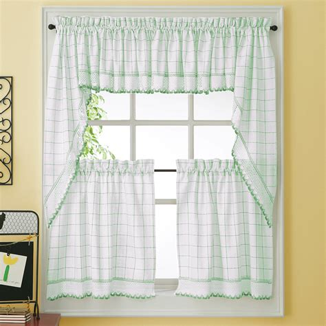 kitchen curtains green green adirondack woven kitchen tier curtains bedbathhome com