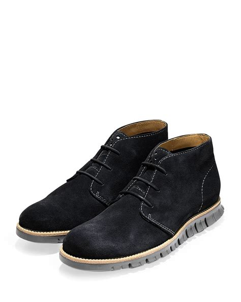 cole haan zerogrand suede chukka boot in black for lyst