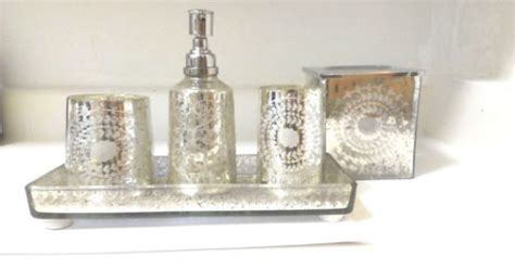 mercury glass bathroom accessories by aunaturalejewels on