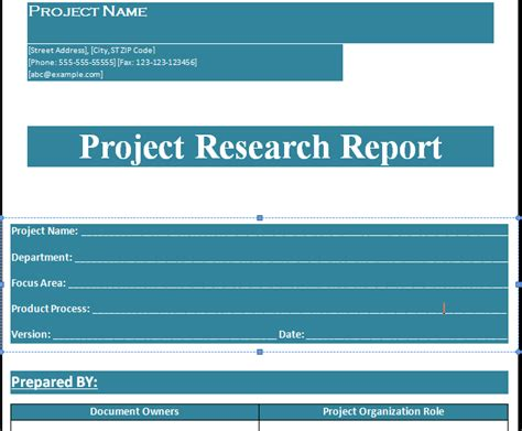 research project report template project research report template format projectemplates