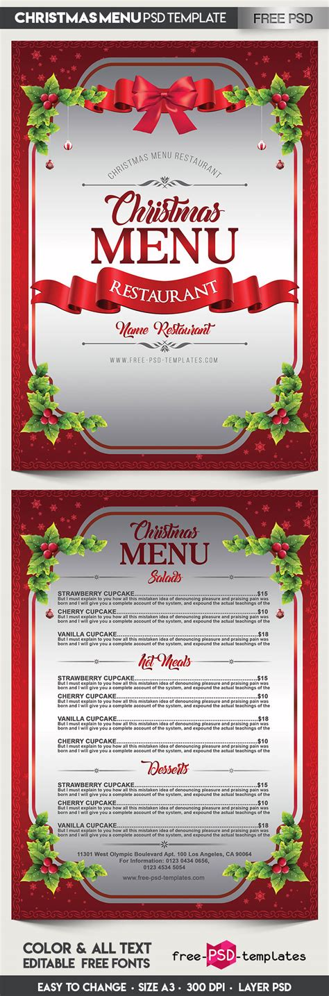 free christmas menu psd template free psd templates