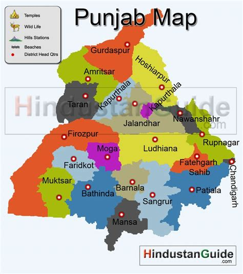 map of punjab map of punjab districtwise punjab map pilgrimage centres