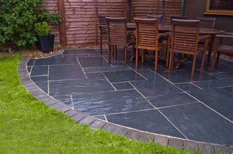 blue black slate paving slabs sawn garden patio