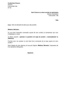 Exemple De Lettre Commerciale Pour Vendre Un Produit lettre de demande de devis pour des produits mod 232 le de