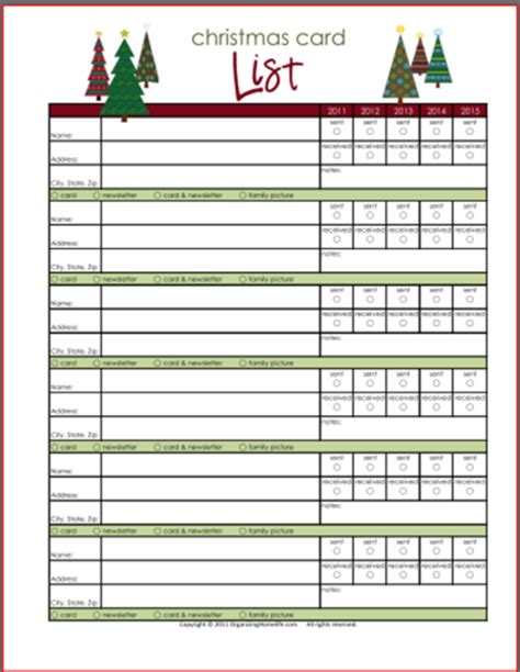 printable planner cards christmas card newsletter planning printables