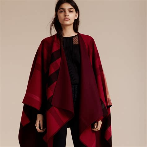 reversible check merino wool poncho in parade