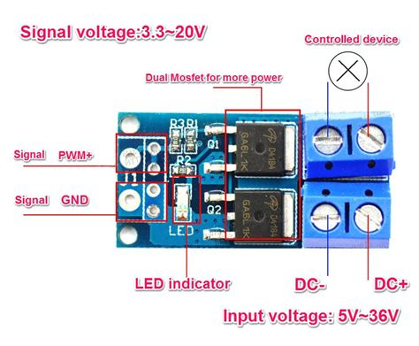 Low Voltage Led Lights High Power Mosfet Trigger Switch Drive Module Mosfet