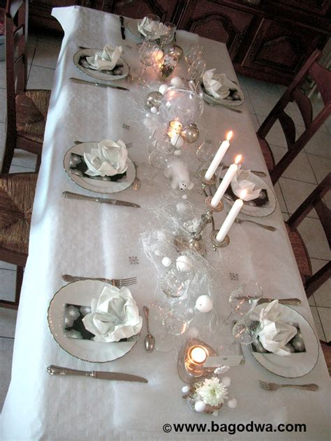 decoration table noel argent et blanc