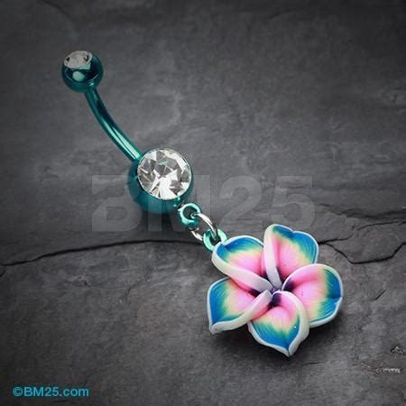 Flower Branch Belly Button Ring colorline hawaiian plumeria flower belly from bm25 belly