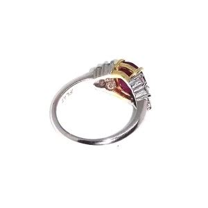 Ruby 8 05ct 18k white gold 3 05ct ruby 0 75 ct ring size 7 5