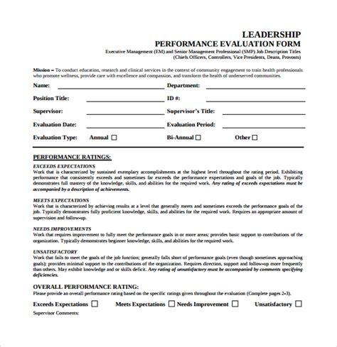 leadership evaluation form 10 leadership evaluation forms sle templates