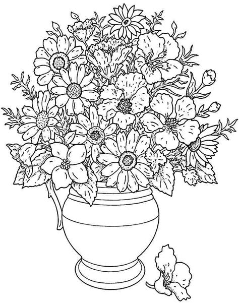 coloring pages of bunch of flowers bouquet flowers coloring sheets printable free for little