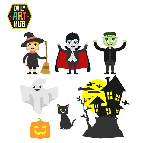 halloween themed art halloween theme clip art set daily art hub free clip
