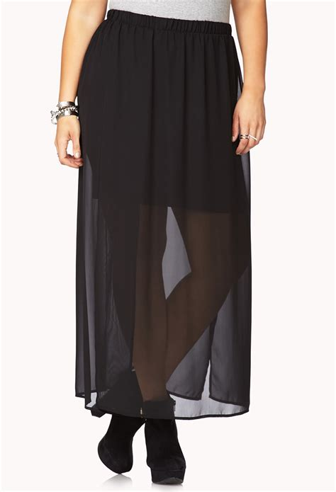 forever 21 side slit chiffon maxi skirt in black lyst