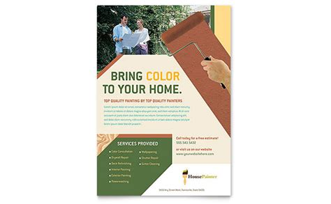 painter amp painting contractor flyer template design