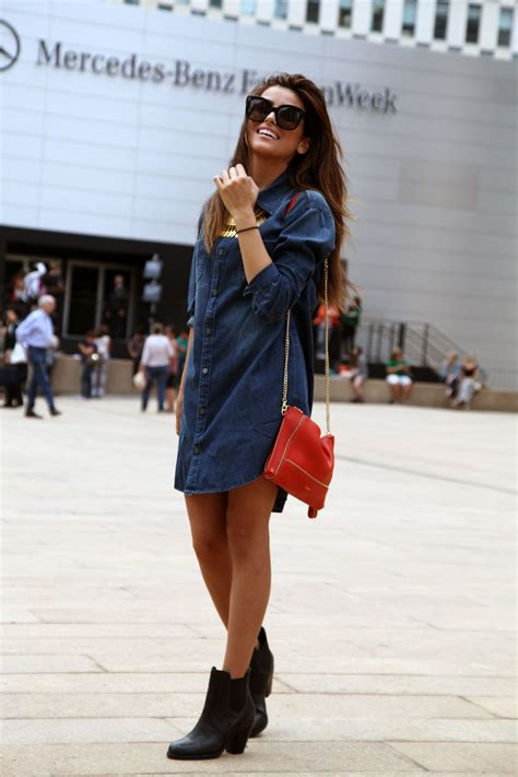 blue jean dress with boots nyfw denim shirt dress and black ariat boots sazan