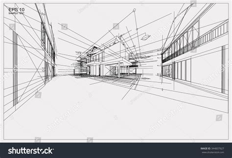 layout vector rendering abstract 3d render building wireframe structure stock