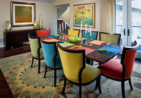 colorful dining chairs dining room