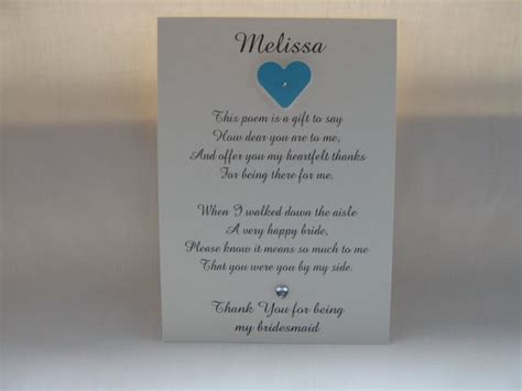 Thank You Letter Bridesmaids Bridesmaid Thank You Poem Wedding Ideas