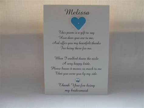 Thank You Letter Bridesmaids Bridesmaid Thank You Poem Wedding Ideas