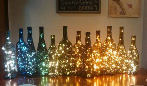 wine bottle decor lights inside wine bottle