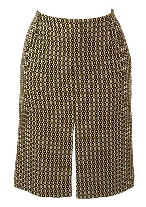 Brown Patterned Pencil Skirt | brown cream wool geometric patterned pencil skirt s