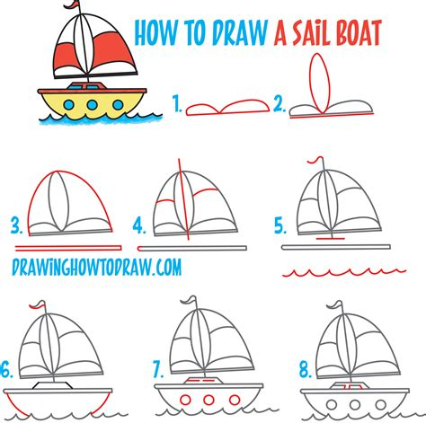 boat cartoon step by step how to draw a cartoon sailboat from the letter quot b quot shape