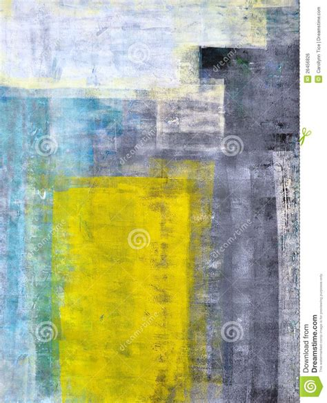 painting greys teal grey and yellow abstract art painting stock photo