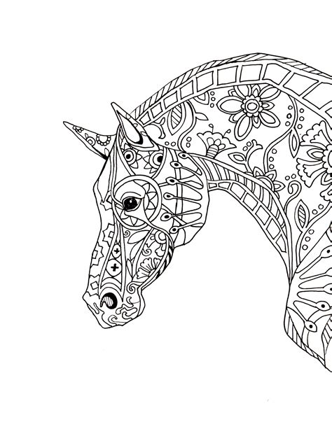 mandala coloring pages horse decorative horse profile for print jpg jpeg image 2550