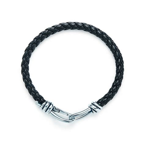 Paloma Picasso® Knot single braid bracelet of sterling silver and black leather,   Tiffany & Co.