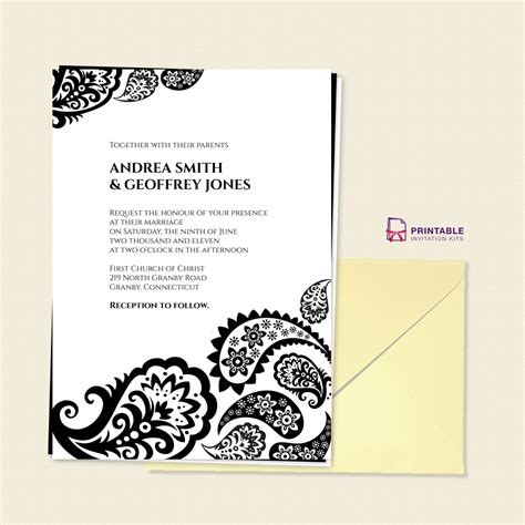 gmail invitation template free pdf paisley border wedding invitation