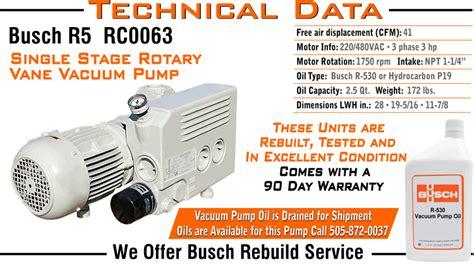 busch r5 rc0063 rc 0063 single stage rotary vane vacuum
