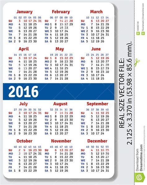 Calendrier Numéro Semaine 2016 Calendrier Anglais De Poche Pour 2016 Illustration De
