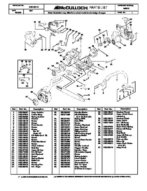 Mcculloch M4218 Chainsaw Service Parts List