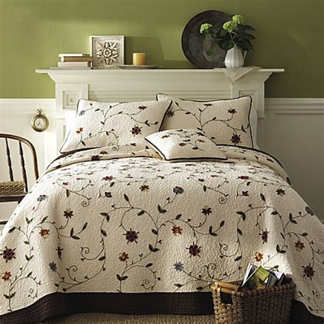 ambria chocolate quilt 100 cotton bed bath beyond