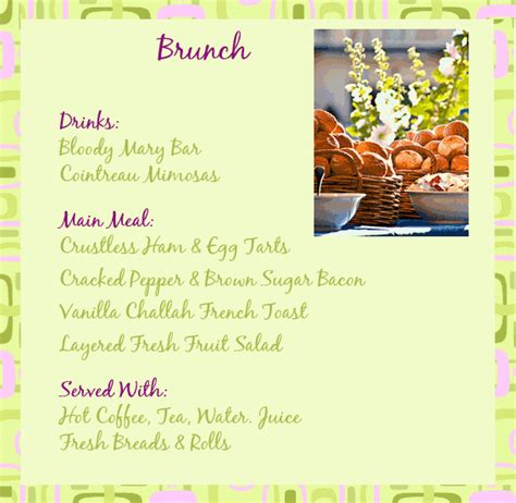 brunch menu ideas breakfast ideas pinterest mothers