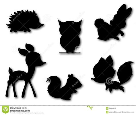 woodland silhouette l shade set of cute animals silhouette vector stock vector image