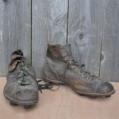 vintage football shoes antique leather 1920s football cleats collectibles