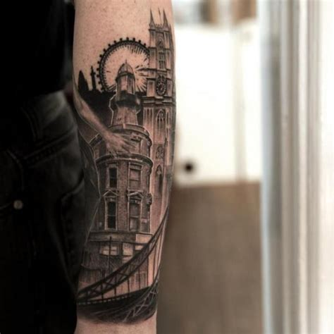 tattoo oriental paisagem arm landscape city tattoo by wicked tattoo